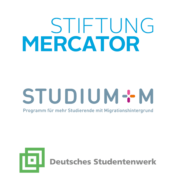 Logos: Mercator, Studium+M, Deutsches Studentenwerk